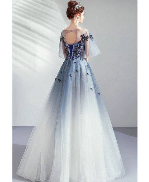 blue and white prom dress 971-05