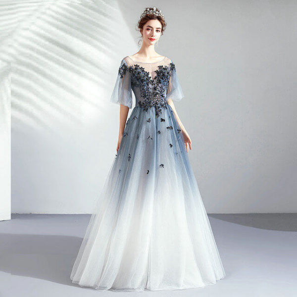 blue and white prom dress 971-07