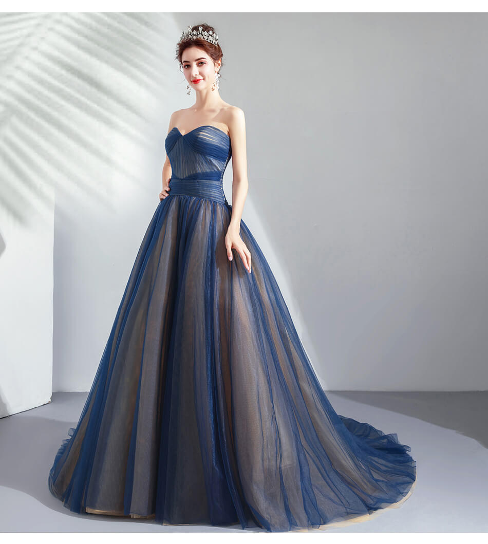 Dark Blue Prom Dresses 2019 Strapless