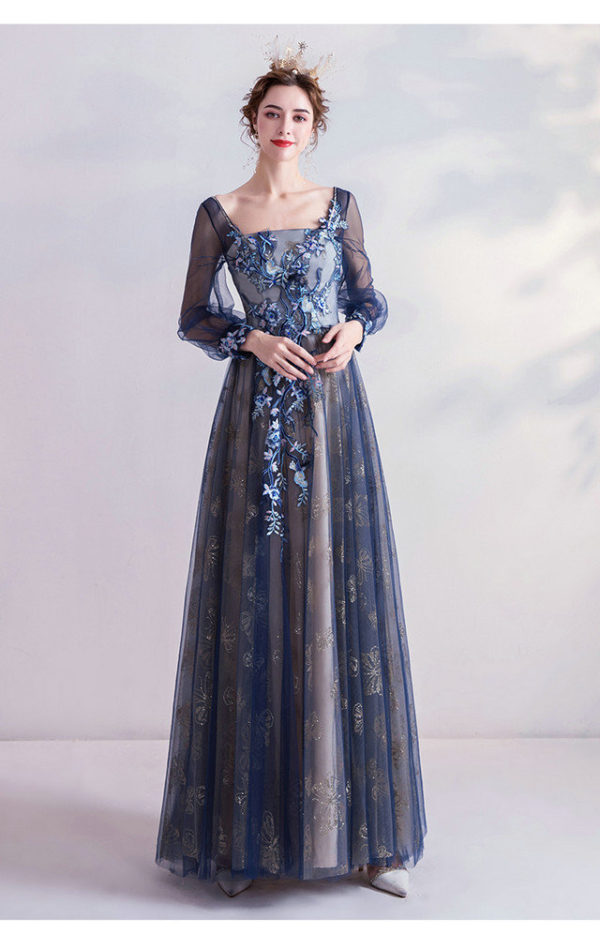 blue prom dress with sleeves 990-03