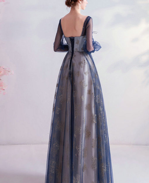 blue prom dress with sleeves 990-05