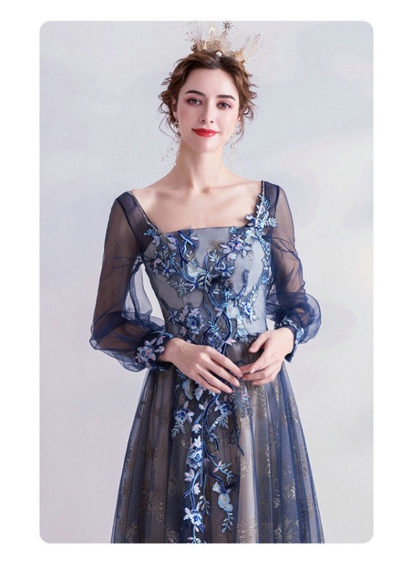 blue prom dress with sleeves 990-06