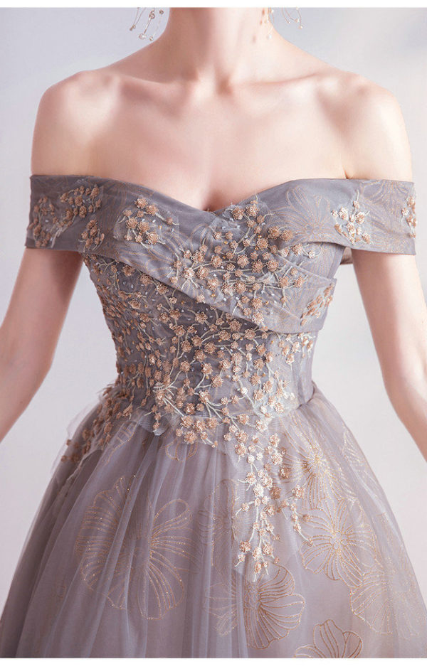 grey formal gown 987-06