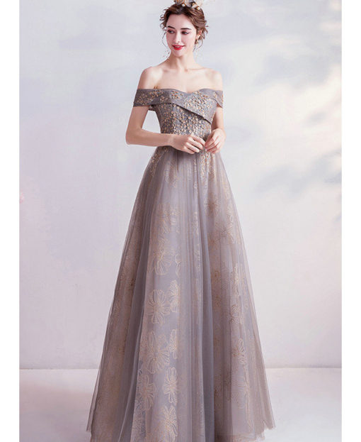 grey formal gown 987-07