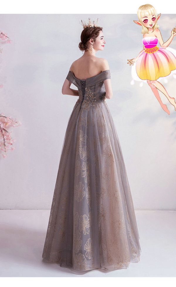 grey formal gown 987-08