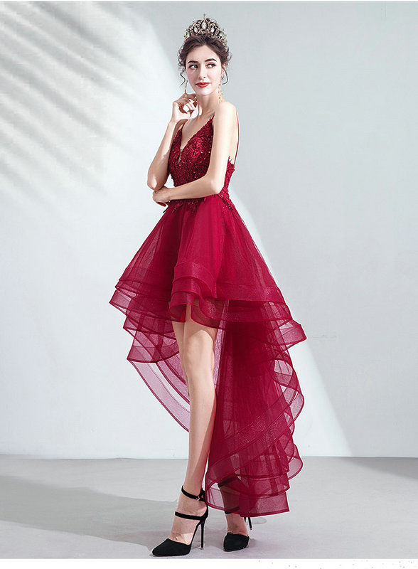 red high low dress 1035-007