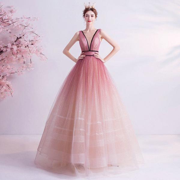 pink v neck prom ball gown 1114-2