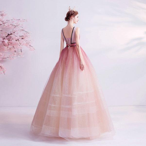 pink v neck prom ball gown 1114-7
