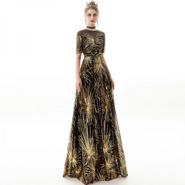 black and gold prom dress 1175-001