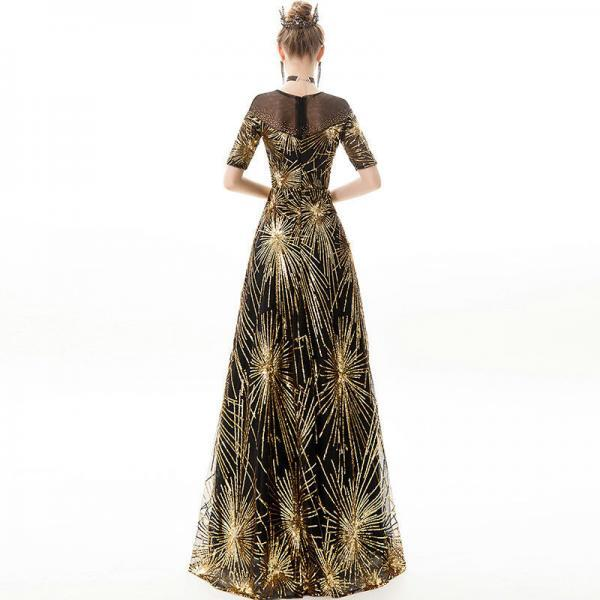 black and gold prom dress 1175-003