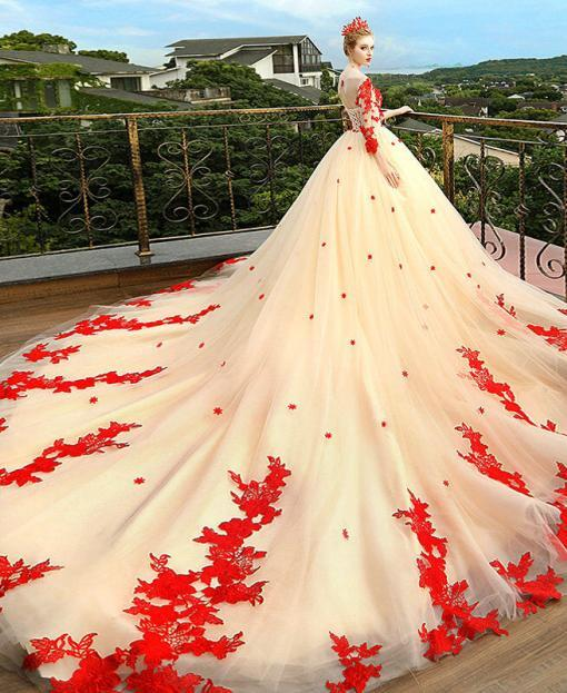 red and champagne wedding dress 1191-003