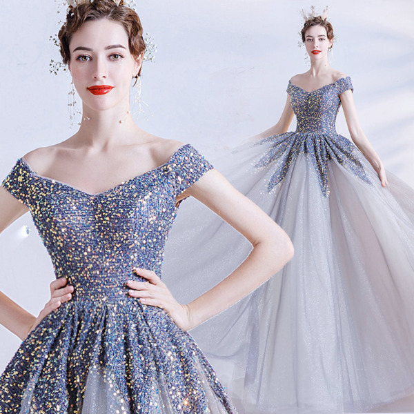 grey and blue dress 1231-002
