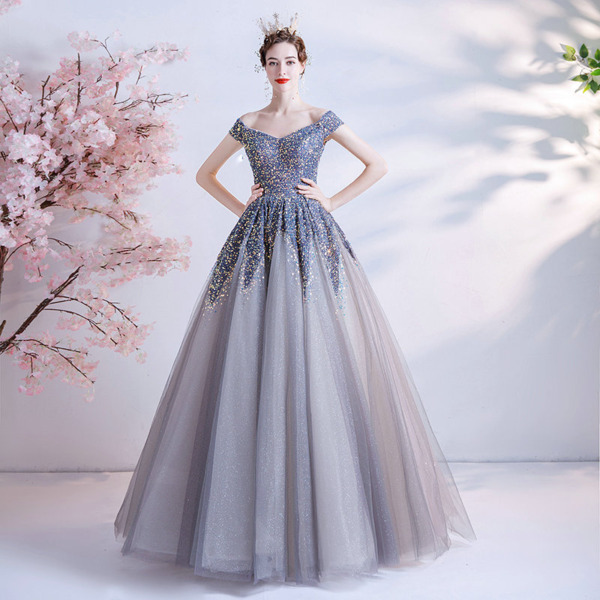 grey and blue dress 1231-006
