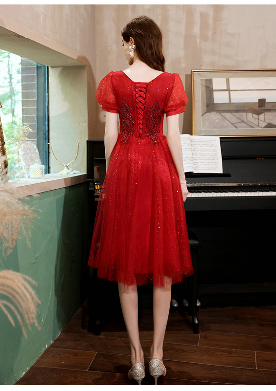 red cocktail party dress 1241-006