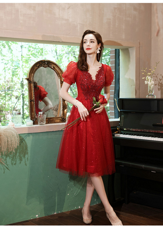 red cocktail party dress 1241-007