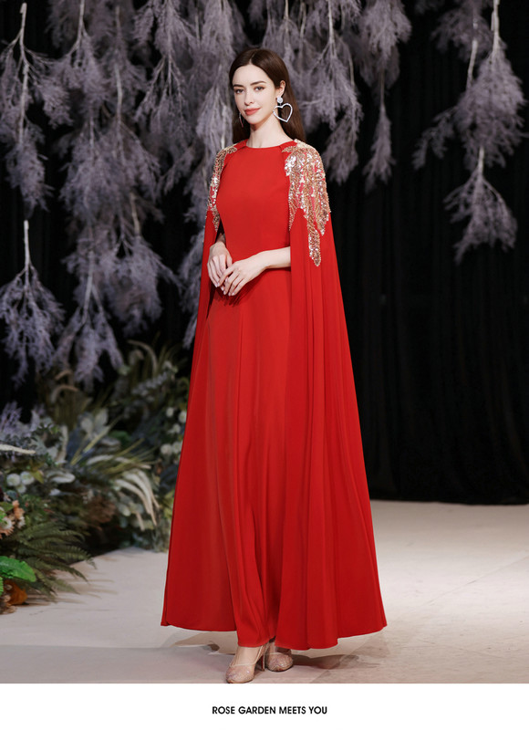 red dress with cape 1262-004