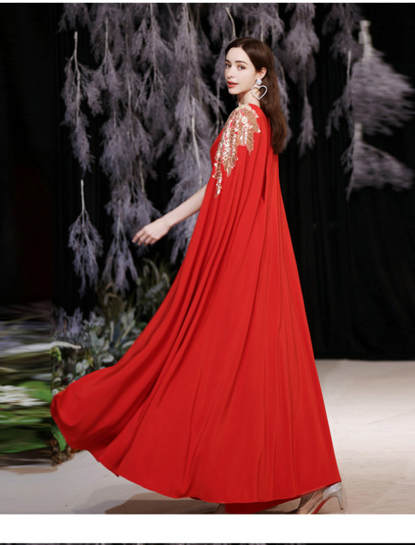 red dress with cape 1262-005