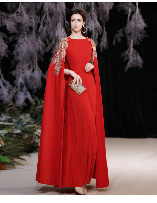 red dress with cape 1262-007