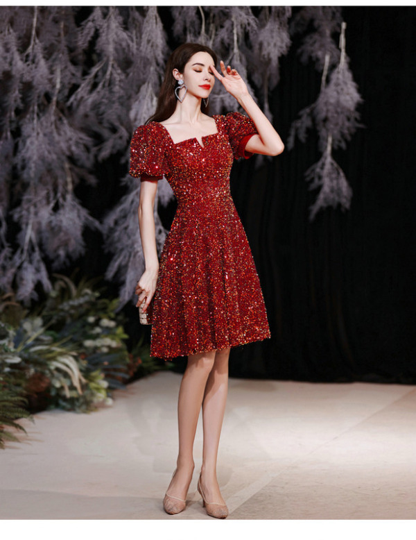 red sequin cocktail dress 1258-001