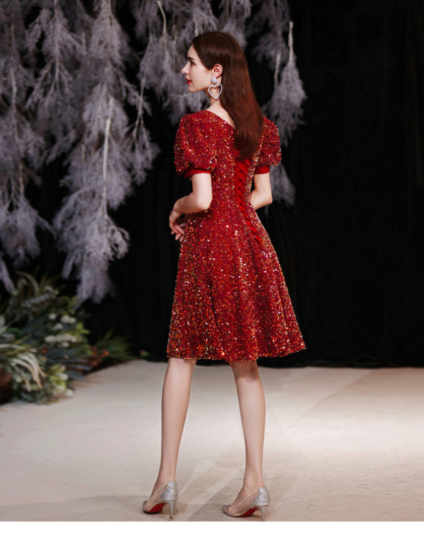 red sequin cocktail dress 1258-004