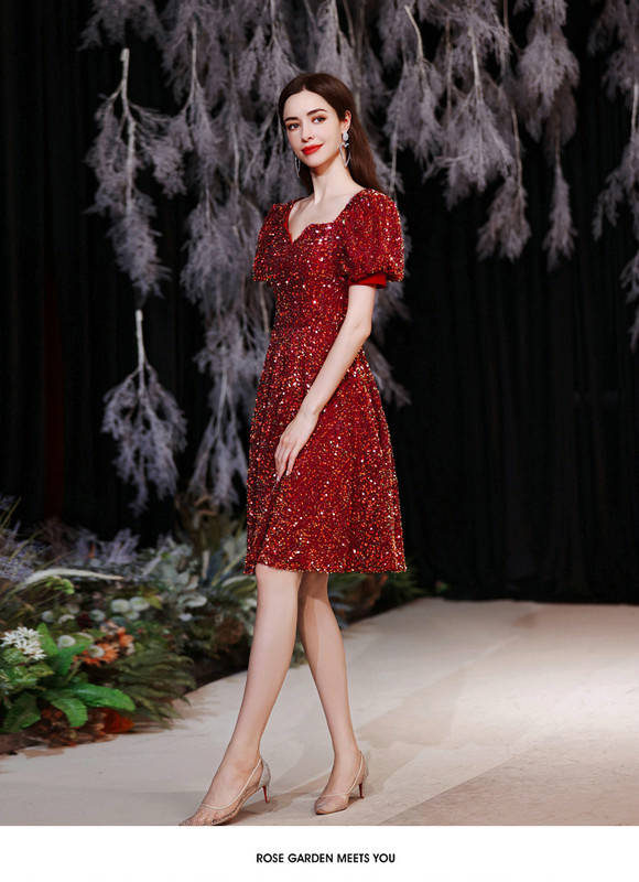 red sequin cocktail dress 1258-006